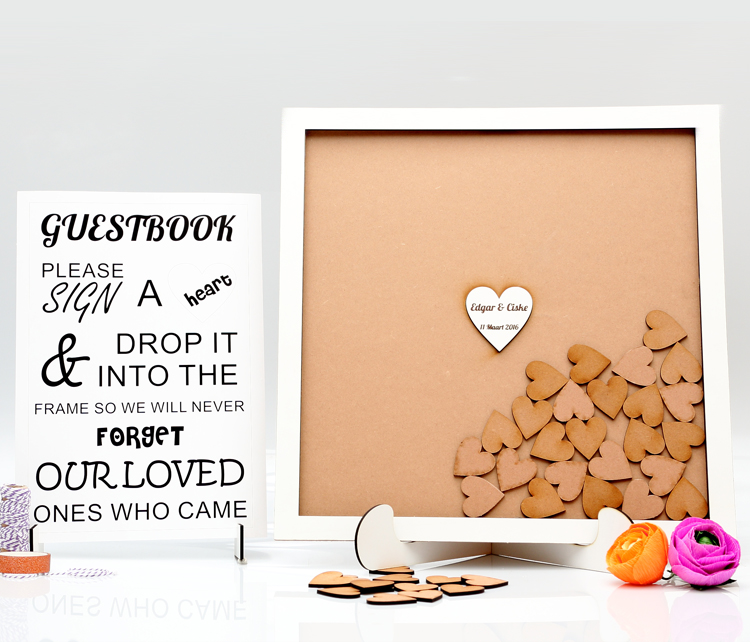 Hearts Guestbook Frame In English Craft Cut Laser Cutting