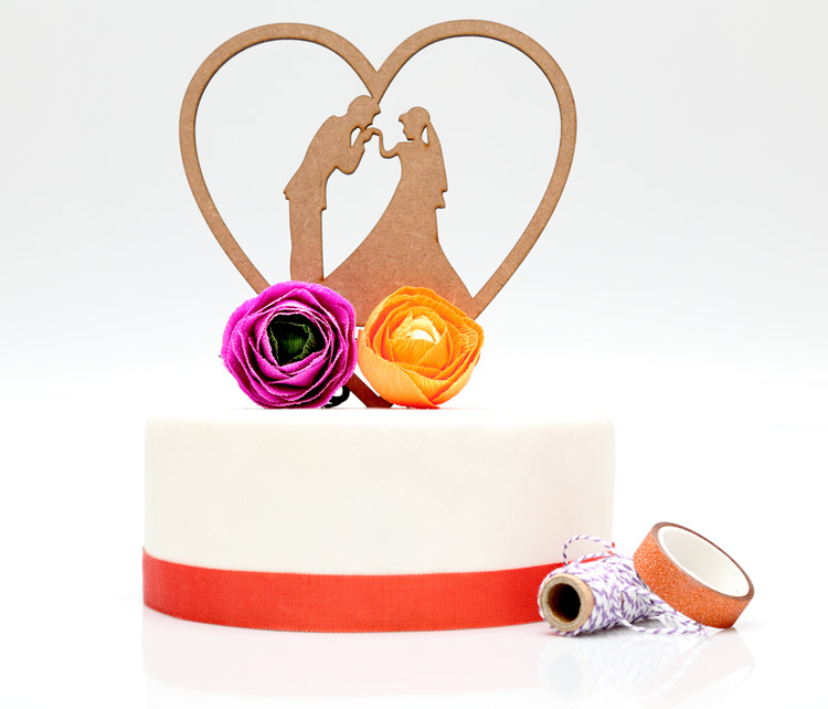 Couple in Heart Cake Topper